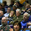 CARL RUSSO/Staff photo.  Sondra and Mike Finegold, center, attend  Andover's annual town meeting Monday night at the Collins Center. 4/30/2018