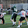 TIM JEAN/Staff photo<br />   <br /> North Andover goalie Jason Make looks to make the save during a boys lacrosse game against Billerica. North Andover won 11-7.    4/26/18