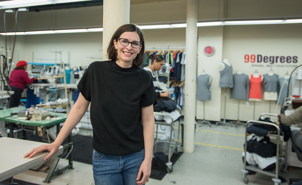AMANDA SABGA/Staff photo<br /> <br /> 99 Degrees Custom Founder and CEO Brenna N. Schneider poses for a photo on the work floor of the Lawrence factory.<br /> <br /> 4/26/18