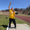 RYAN HUTTON/ Staff photo<br /> Masters weight thrower Rick Brown readies a shot put toss  at the Whittier Tech track on Sunday.