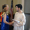 "RYAN HUTTON/ Staff photo<br /> Tyler Vinson, right, and Heidi Krantz, left, both of Derry, joke around between run-throughs during the Kids Coop Theater rehearsal of  ""Joseph and the Amazing Technicolor Dream Coat"" at the Upper Village Hall in Derry on Sunday."