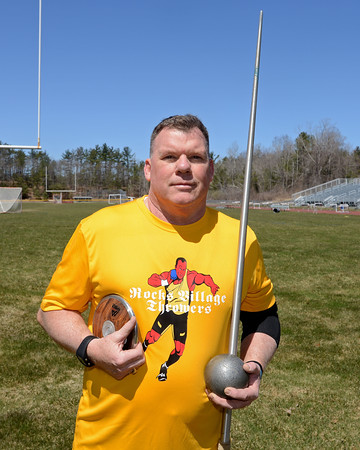 RYAN HUTTON/ Staff photo<br /> Masters weight thrower Rick Brown at the Whittier Tech track on Sunday.