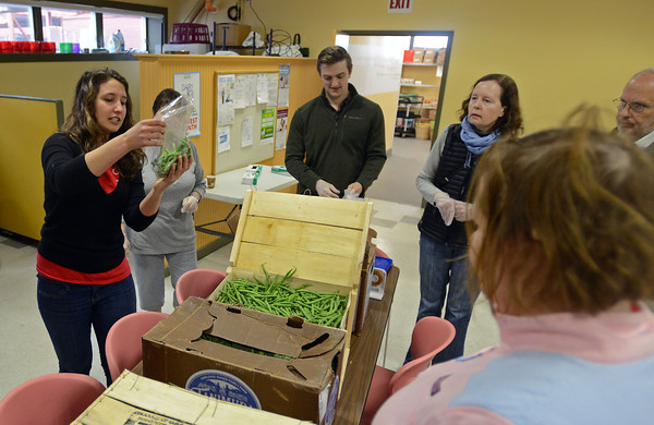 """RYAN HUTTON/ Staff photo<br /> Tyler McClay, the volunteer engagement coordinator at The Open Door food pantry in Gloucester, shows some volunteers how to bag up green beans during a """"Serve with Seth"""" community service event on Sunday hosted by Congressman Seth Moulton (D-MA)."""