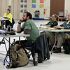 RYAN HUTTON/ Staff photo<br /> Eric Sylvestre, of Londonderry, pays close attention during an ALERT training session at Matthew Thornton Elementary School.