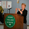 RYAN HUTTON/ Staff photo<br /> Former Derry Village Elementary School student and former school superintendent Mary Ellen Hannon addresses the crowd in the school's gymnasium during the school's 50th anniversary reception on Thursday night.