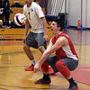 CARL RUSSO/Staff photo. Pinkerton's Teddy Wesche returns the serve. Lawrence high defeated Pinkerton Academy in boys volleyball action Saturday afternoon. 4/28/20188