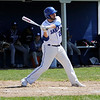 TIM JEAN/Staff photo<br />   <br /> Salem's Andrew Shumski swings and drives the ball for a ground rule double during a baseball game against Nashua South High School. Shumski also pitched a complete game for Salem who won 6-4.   4/24/18