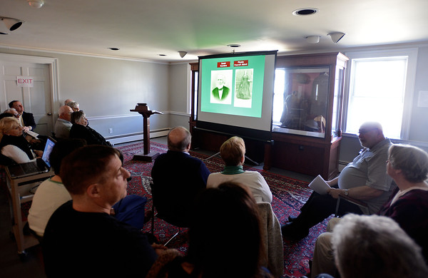 RYAN HUTTON/ Staff photo<br /> Don Robb, of Andover Historical Society Board of Directors, opens a presentation at the Society building on Main Street on Sunday about how South Lawrence was once a part of Andover.