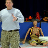 RYAN HUTTON/ Staff photo<br /> A rescue dummy looks on as ALERT President Rich Semaski goes over basic medical training during an ALERT training at the Matthew Thornton Elementary School.