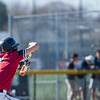 AMANDA SABGA/Staff photo<br /> <br /> North Andover's Thomas Finn bunts while at bat during a game between Haverhill High School and North Andover High School at North Andover.<br /> <br /> 4/23/17