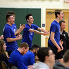 RYAN HUTTON/ Staff photo<br /> Salem's Ben Laycock, right, cheers for his teammates on the court during Monday's game at Windham High.