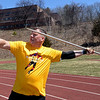 RYAN HUTTON/ Staff photo<br /> Masters weight thrower Rick Brown readies a javelin throw at the Whittier Tech track on Sunday.