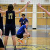 RYAN HUTTON/ Staff photo<br /> Salem's Ben Laycock readies himself for a Windham serve during Monday's game at Windham High.