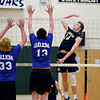 RYAN HUTTON/ Staff photo<br /> Windham's Luke Leonard goes up for the ball during during Monday's game against Salem at Windham High.