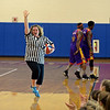 RYAN HUTTON/ Staff photo<br /> Londonderry High School Assistant Principal Katie Sullivan is introduced as the referee of Monday night's game at the school gym between the faculty and the Harlem Wizards basketball team.