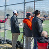 AMANDA SABGA/Staff photo<br /> <br /> Scouts measure the speed of Central Catholic pitcher Steve Hajjar's pitch during a game between Central Catholic and Austin Prep at Trinity Stadium in Haverhill.<br /> <br /> 4/21/17