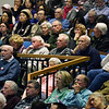 CARL RUSSO/Staff photo. Don Robb, far left, talks about Article 37, Senior Property Tax Exemption at Andover's annual town meeting Monday night at the Collins Center. 4/30/2018