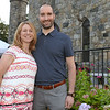 CARL RUSSO/staff photo. Eric and Karen Landers of Andover enjoy the event. Eric works for Pentucket Bank of Haverhill, a sponsor of the event. The Winnekenni Foundation's 50th Anniversary Summer Wine and Cheese Reception was celebrated on Thursday Evening August 23rd. Over 100 people enjoyed the Castle's atmosphere and gorgeous flower gardens while listening to music by the Itchy Feet Jazz Band. The foundation honored special guests Lucine and Richard Goudreault  of The Goudreault Farm and Dean Bouzianis, first president of The Winnekenni Foundation for their dedication. 8/23/2018