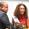 BRYAN EATON/Staff photo. Lawrence native and Miss Massachusetts Gabriela Taveras receives her key to the City of Lawrence from Mayor Daniel Rivera.