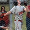 CARL RUSSO/staff photo. North Andover's Jack Murphy reacts to striking out. The North Andover American Little League team was defeated by Billerica 4-3 in District 14 best-of-3 finals. The teams will play the second game on Thursday night in Billerica. 7/10/2018