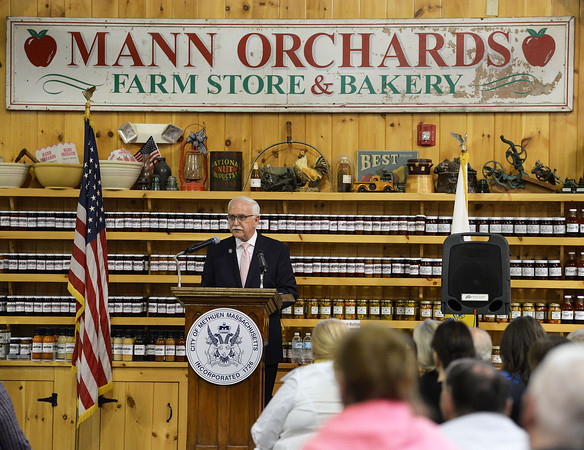 CARL RUSSO/staff photo. Methuen Mayor James Jajuga presented his first State of the City address Tuesday night at Mann Orchards. The address covered his first 100 days in office. 4/24/2018