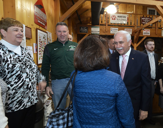 CARL RUSSO/staff photo. Methuen mayor James Jajuga greets people before giving his address. Methuen Mayor James Jajuga presented his first State of the City address Tuesday night at Mann Orchards. The address covered his first 100 days in office. 4/24/2018