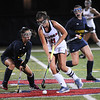 CARL RUSSO/staff photo. Andover's Hannah Medwar, left and Central's captain, Madison DiPietro fight for the ball. Andover defeated Central Catholic 3-0 in field hockey action. 10/01/2018