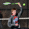 CARL RUSSO/Staff photo Central Catholic freshman, Zach Channen played and won his very first high school tennis match. He defeated North Andover senior captain, Will Comerford in singles Monday afternoon.  4/01/2019