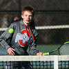 CARL RUSSO/Staff photo Central Catholic freshman, Zach Channen played and won his very first high school tennis match. He defeated North Andover senior captain, Will Comerford in singles Monday afternoon.  4/10/2019