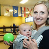 CARL RUSSO/Staff photo Erin Blanchard of North Andover and her three-month-old son, Liam attend the tournament. <br /> <br /> Twenty two teams with 100 players participated in the 4th Annual Foster Kids of the Merrimack Valley Bocce and eight teams participated in first corn hole tournament on Saturday, April 27 at the Methuen Sons of Italy.  <br /> <br /> The event helps to support the Helene Giordano Memorial Scholarship Fund. Helene Giordano, who passed away in 1990, was Larry Giordano's foster mother. <br /> <br /> Two--$2,500 scholarships are given each year to young adults who are in or have been in foster care thru the Lawrence or Haverhill DCF, Department of Children and Families offices. 4/27/2019