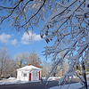 TIM JEAN/Staff photo <br /> <br /> Snow covered tree branches set a wintery scene with the Hay Scales building next to the North Andover Town Common Wednesday afternoon.      12/11/19
