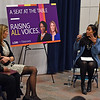 """RYAN HUTTON/ Staff photo<br /> Former State Representative and current COO of MassINC Juana Matias, right, moderates a discussion at Lawrence High School on Friday with Congresswomen Ayanna Pressley, left, and Lori Trahan, center, called """" A Seat at the Table: Raising All Voices""""."""