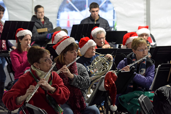 TIM JEAN/Staff photo <br /> <br /> Members of the Windham Community Concert Band perform holiday songs during the Windham Tree lighting celebration.   12/7/19