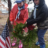 TIM JEAN/Staff photo <br /> <br /> Skye Webster, left, and her twin brother Robbie, 8, of Haverhill, place a wreath on a veterans grave during the Wreaths Across America remembrance day in Haverhill's Hilldale Cemetery.       12/14/19