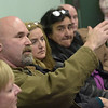 TIM JEAN/Staff photo <br /> <br /> Haverhill resident Dan McDonald, left, asks a question during a public meeting for a marijuana shop at the Haverhill Public Library. They group called Mellow Fellows plans to open at the site of the former Seafood Etc. on Amesbury Road near Rt 495. 12/11/19