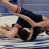 TIM JEAN/Staff photo <br /> <br /> Central's Jimmy Glynn, top, wrestles against Windham's Aiden Williams in the 106 pound final during the Salem Blue Devil Classic wrestling tournament. Glenn won by pin.        12/14/19