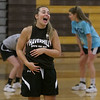 MIKE SPRINGER/Staff photo<br /> Senior Co-Captain Christina Firek shouts encouragement to a teammate during varsity basketball practice Wednesday at Haverhill High School.<br /> 12/4/2019