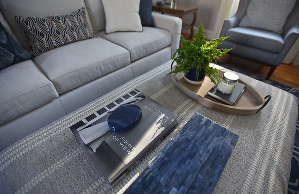 RYAN HUTTON/ Staff photo<br /> Kate Duff's newly redesigned living room courtesy of Gray Oak Studio.