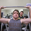 MIKE SPRINGER/Staff photo<br /> Jonathan Quigley lifts weights at Choice Fitness in Haverhill as his friend and classmate Brandon Grundy spots him.<br /> 12/02/2019