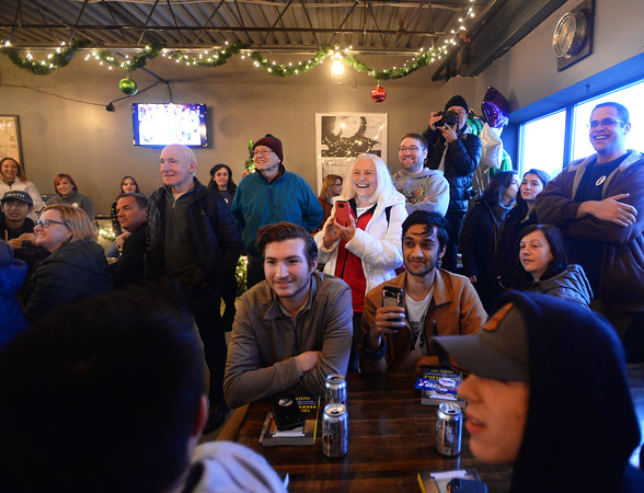 CARL RUSSO/Staff photo Democratic presidential candidate Andrew Yang spoke in Derry at the Rockingham Brewing Company for a early New Year's Eve chat. 12/31/2019