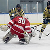 TIM JEAN/Staff photo <br /> <br /> Windham's Tommy Langlois, left, and Zach Jordan with a scoring chance during Tuscan Kitchen Blue Devil Classic boys hockey tournament against Pinkerton Academy at the ICenter in Salem, NH. Pinkerton won 3-2.    12/26/19