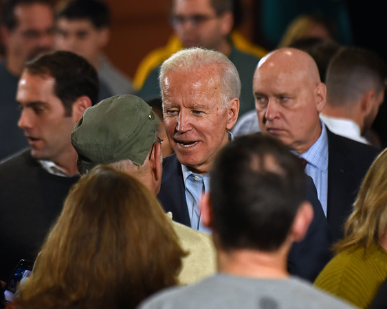 RYAN HUTTON/ Staff photo<br /> Former Vice President and presidential candidate Joe Biden interacts with supporters at the Tupelo Music Hall in Derry, NH during a campaign stop on Monday.