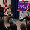 """RYAN HUTTON/ Staff photo<br /> Massachusetts Congresswoman Lori Trahan, center, speaks as fellow Congresswoman Ayanna Pressley, left, and Former State Representative and current COO of MassINC Juana Matias look on during a discussion at Lawrence High School on Friday entitled """"A Seat at the Table: Raising All Voices""""."""