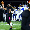 CARL RUSSO/Staff photo. Greater Lawrence quarterback, Shamil Diaz looks to pass. Greater Lawrence Tech. defeated Assabet Valley 36-26 in State Vocational Bowl Thursday night. 12/05/2019