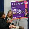 """RYAN HUTTON/ Staff photo<br /> Massachusetts Congresswoman Ayanna Pressley, left, speaks as fellow Congresswoman Lori Trahan, right, looks on during a discussion at Lawrence High School on Friday entitled """"A Seat at the Table: Raising All Voices""""."""