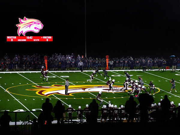 CARL RUSSO/Staff photo. Whittier Wildcats defeated the Greater Lawrence Reggies in Thanksgiving Eve football action. This is the first Thanksgiving Eve game played on the new field. 11/27/2019