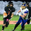 CARL RUSSO/Staff photo. Greater Lawrence quarterback, Shamil Diaz sprints down the field. Greater Lawrence Tech. defeated Assabet Valley 36-26 in State Vocational Bowl Thursday night. 12/05/2019