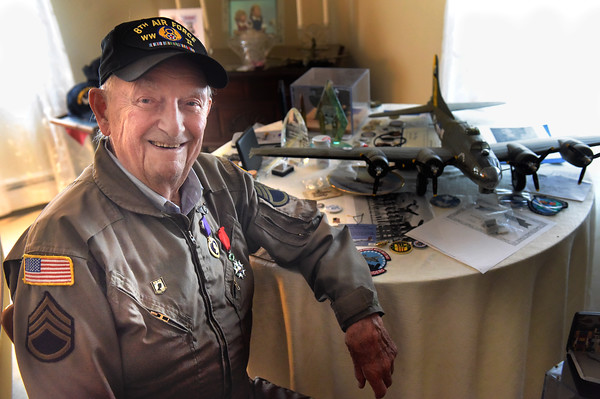TIM JEAN/Staff photo <br /> <br /> John Katsaros, 96, of Haverhill, a WWII Veteran who was a POW, Waist-Gunner, Engineer, and a Photographer during the war.      12/6/19