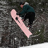 RYAN HUTTON/ Staff photo<br /> Graydon Goyetch, 16, catches some air on his snowboard at the sledding hill at Alexander Carr Park in Derry on Monday.