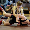 TIM JEAN/Staff photo <br /> <br /> Haverhill's Dryden Fisher, top, wrestles against North Andover's Sam Mountain in the 152 pound match.     12/24/19